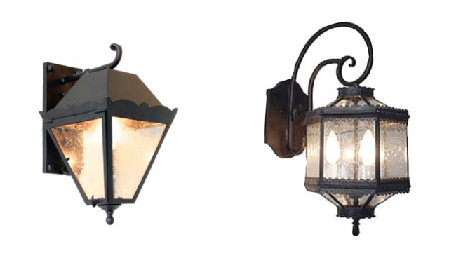 Iron outdoor wall sconces
