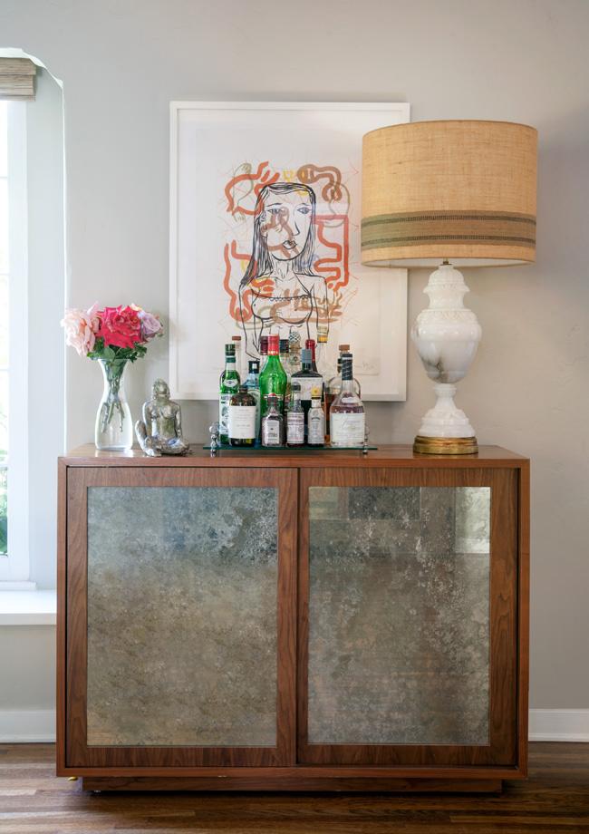 Modern bar with antiqued mirror