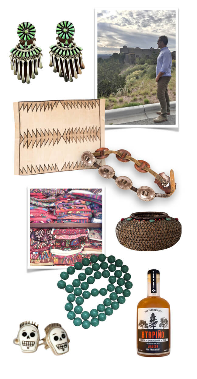 Santa Fe textiles, jewelry, rugs and baskets