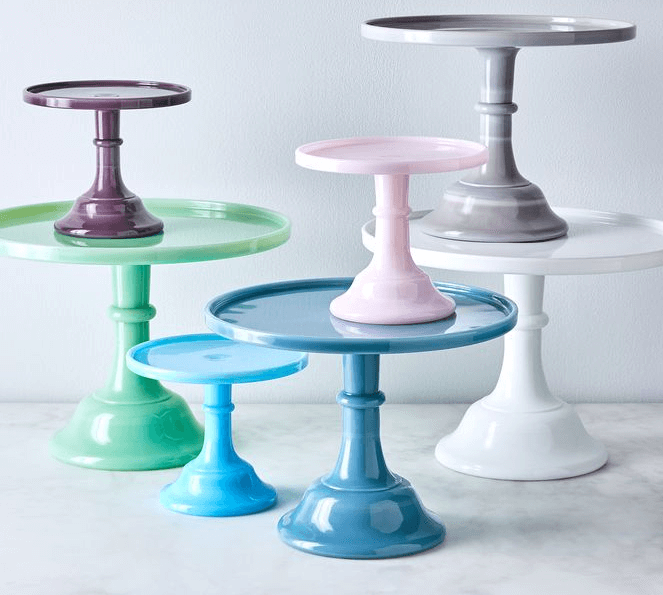 Add cheerful cake stands for a colorful kitchen