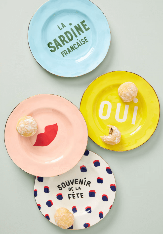 Use desert plates for a colorful kitchen