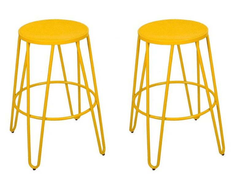 Add yellow stools for a colorful kitchen